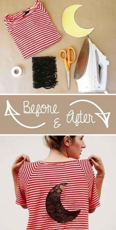 Add a cool lace insert into your shirt with just a bit of hem tape. | 41 Awesomely Easy No-Sew DIY Clothing Hacks: