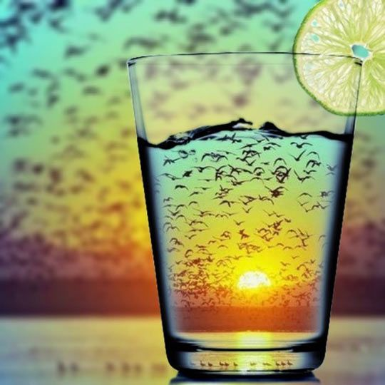 Sunset refraction…I wonder if this works with people. would be cool to do through a champane bottle with kissing on the other side at a wedding or something?