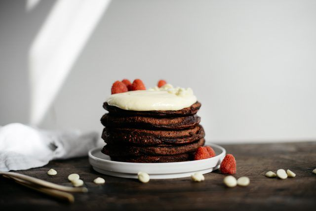 How to Make Red Velvet Pancakes With Whipped Cream Cheese Topping | eHow
