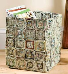 Love the square pattern. Paper basket.