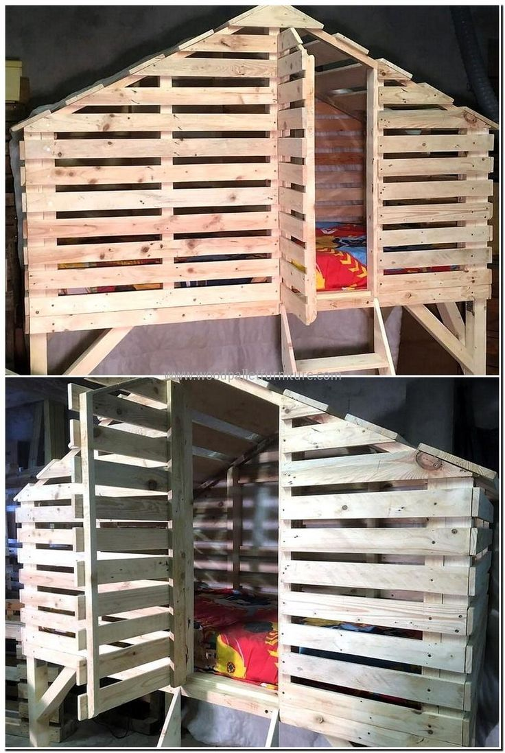 Best 25 pallet bunk beds ideas on pinterest small bunk for Wood pallet fort