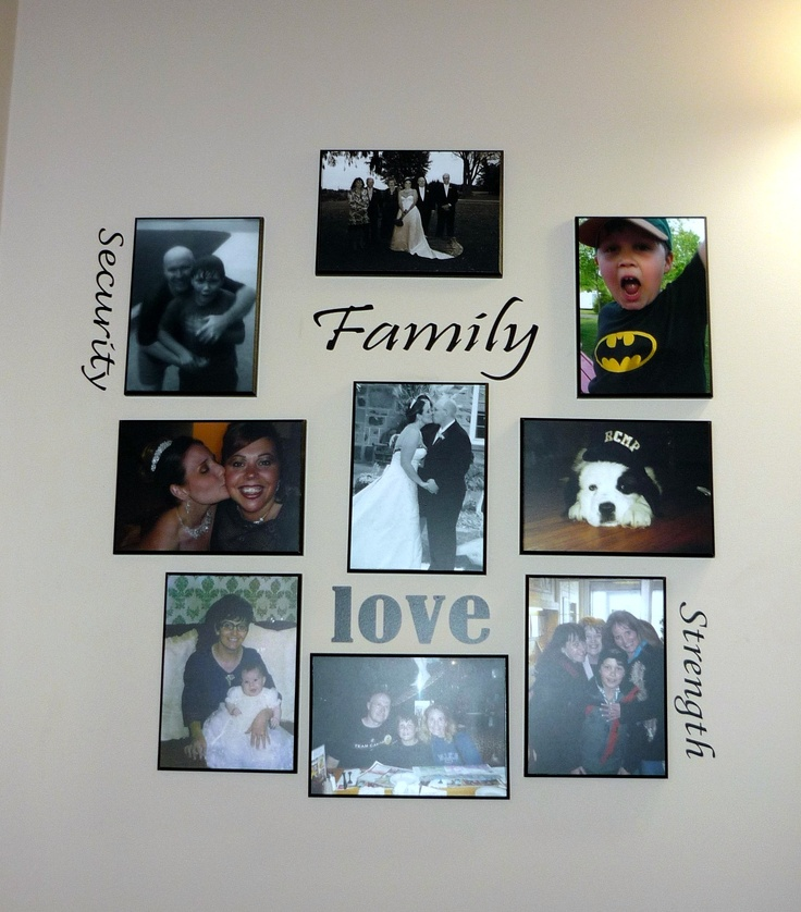 Photo collage in our guest bathroom ... got the wall-words from a great seller on Ebay