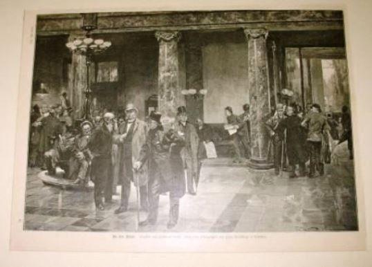 An der Börse München deko. Holzstich 1889 Ferdinand Brütt Bayern Aktien Handel