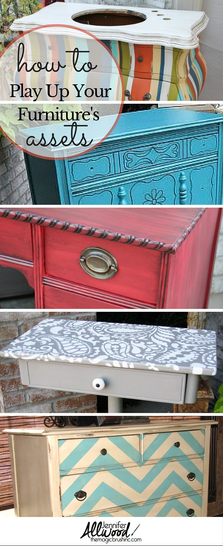 What Not To Wear for Furniture! DIY Repainting Used Furniture. How to play up each piece's unique details and how to make boring pieces interesting again with paint, stain, stencil, knobs and decoupage. So many helpful ideas! themagicbrushinc.com