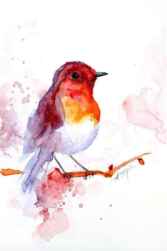 Peinture aquarelle, peinture aquarelle oiseaux, art de l'oiseau, illustration animale, oiseaux imprimer 6 x 8 pouces. 15 x 20 cm.