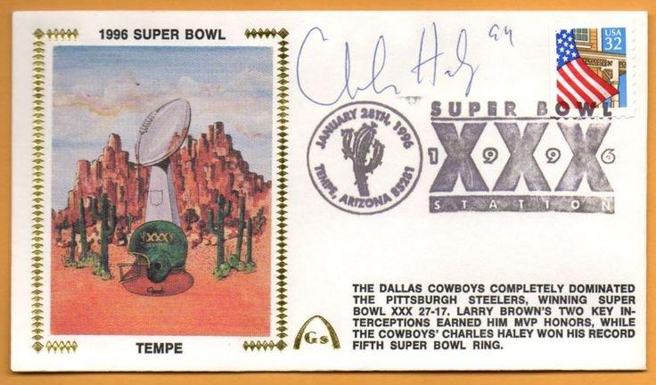 Charles Haley Super Bowl XXX Signed Gateway Stamp Cachet - Dallas Cowboys