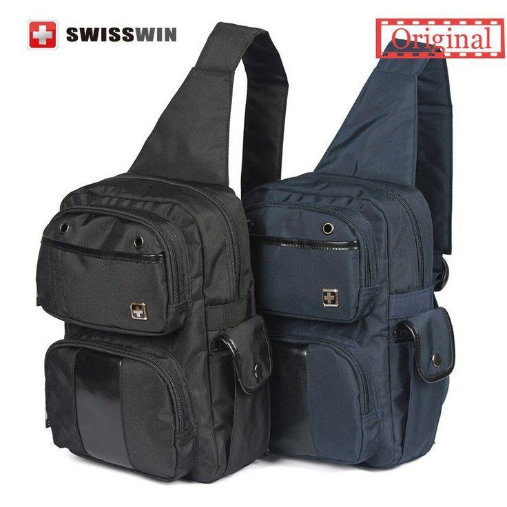 Unisex Swisswin Messenger Bag Fashion Sling Bag One Shoulder Bag Waterproof Chest Bag Black Blue