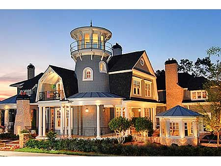 Plan 15756ge shingle style classic with lighthouse tower for Luxury shingle style house plans