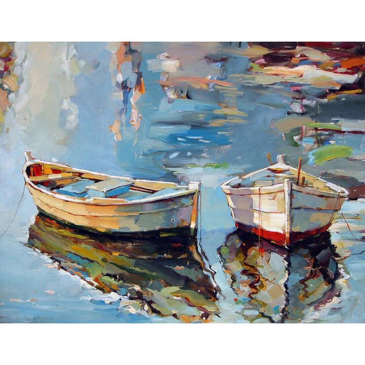 """〰〰〰〰〰 • 'Small Boats I' •  Oil on canvas • ➖  Artist:  Georgi Kolarov ➖   www.georgikolarov.com """
