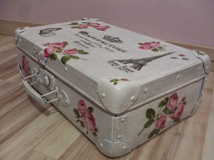Stara walizka Decoupage Old suitcase decorated with decoupage
