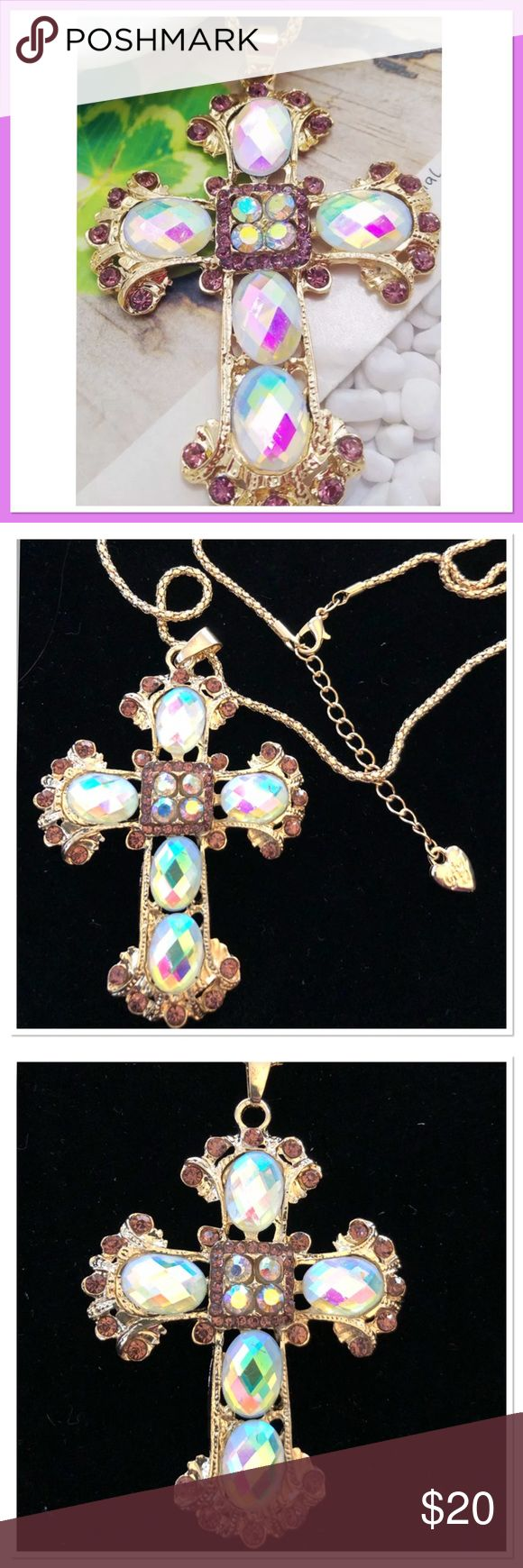 """Beautiful Cross Necklace Gold plated necklace with iridescent stones and rhinestones on a 26"""" gold rope chain with a 2"""" extender. NEW Jewelry Necklaces"""