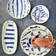 John Newdigate Seaside Serveware: Westelm, Ceramics Plates, Dinners Plates, Newdig Seaside, Fun Plates, Summer Fun, Seaside Servewar, West Elm, John Newdig