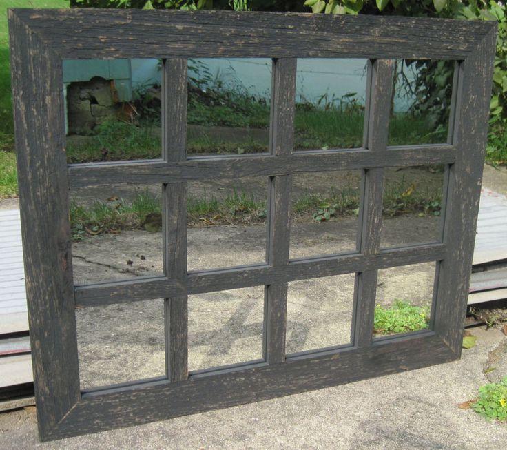 Reclaimed Barn Wood 12 Pane Window Mirror Rustic Wall