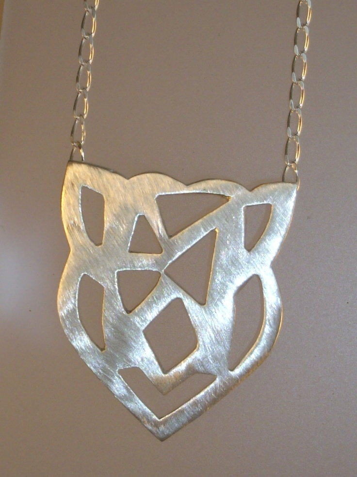 SOLD Sterling Silver Celtic Pierced Pendant, Brushed Finish & Open Curb Chain 45cm(length pendant 28mm)