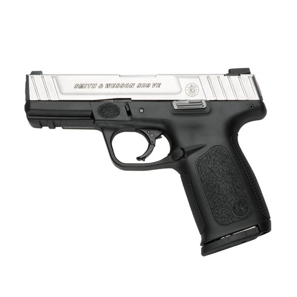 Smith and Wesson 9mm in two-tone finish w/ textured polymer grip.  I want this one!