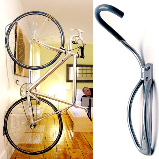 Super simple hanging bike rack and only $14 on Amzaon!!  http://www.amazon.com/Delta-Leonardo-Single-Bike-Rack/dp/B000ACAM06/ref=pd_bxgy_sg_img_b