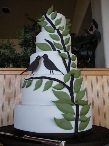 LOVE THIS!Birds Theme, Autumn Leaves, Cake Wreck, Cake Ideas, Birds Wedding Decor, Wedding Cakes, Vienna Bakeries, Birdhouses Cake, Birds Cake