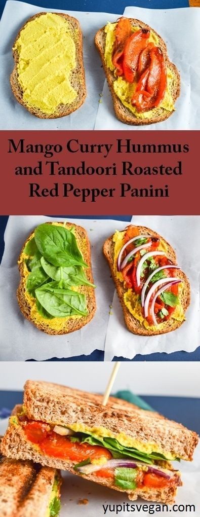 Mango Curry Hummus and Tandoori Roasted Red Pepper Panini | yupitsvegan.com. Mouthwatering, hearty, brightly-flavored vegan sandwiches made with sweet and tangy mango curry hummus and spicy tandoori-spiced roasted red peppers.
