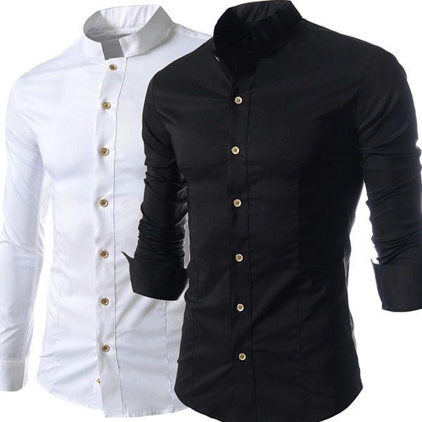 Stand Collar Golden Button Long Sleeve Button up Stylish Band Collar Shirt Dress Shirt for Men