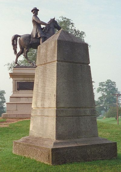 The monument to the 14th Indiana Infantry Regiment is southeast of Gettysburg on East Cemetery Hill next to the equestrian statue of Maj. Gen. Winfield S. Hancock.