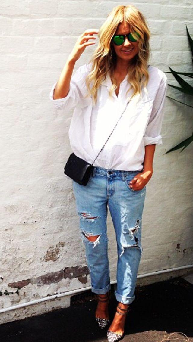 Elle Ferguson - nothing better than white shirt and denims