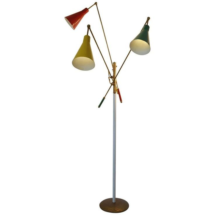 1950s Italian Multicolored Modernist Floor Lamp in the Style of Arredoluce | From a unique collection of antique and modern floor lamps at https://www.1stdibs.com/furniture/lighting/floor-lamps/
