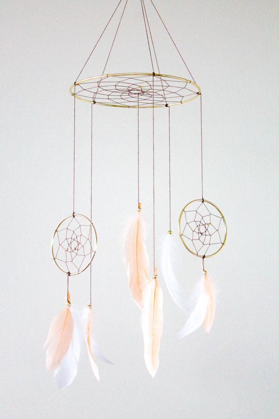 by WhitehallFarmMD : Dreamcatcher Mobile - Peach and White Boho Bohemian Baby Tribal Crib Nursery Baby Feathers Baby Boy Girl