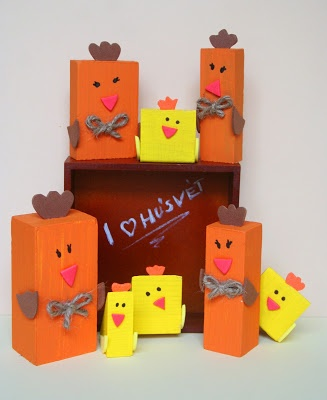 Chicken farm out of old wooden blocks