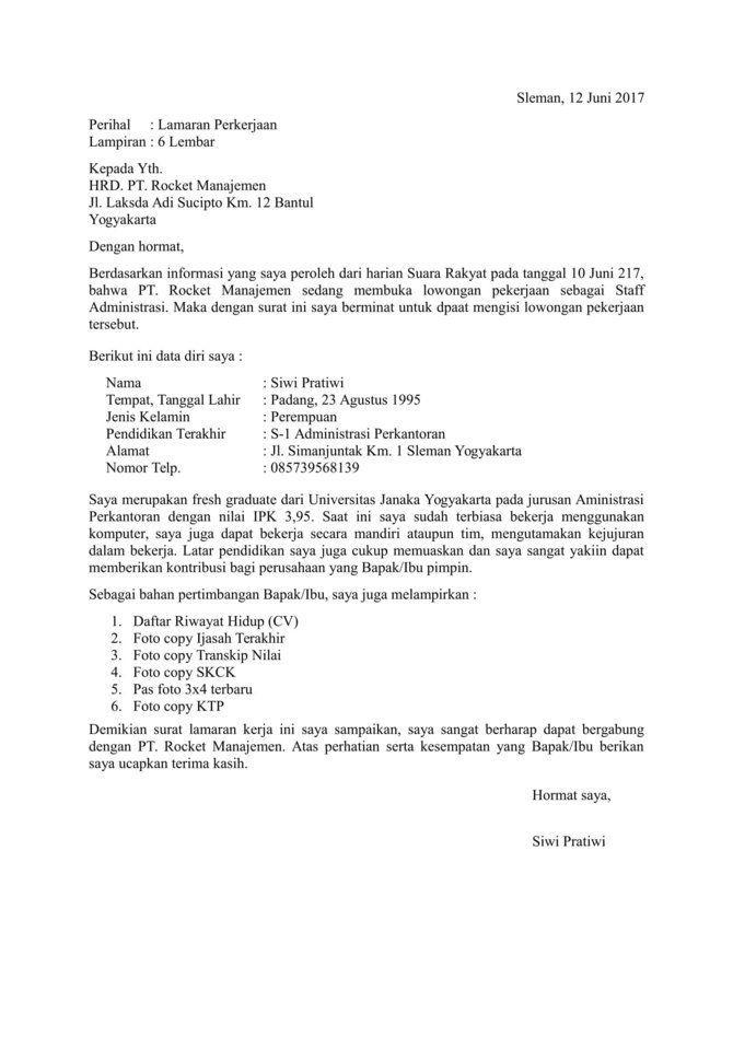 Contoh Surat Lamaran Kerja Tahun 2017