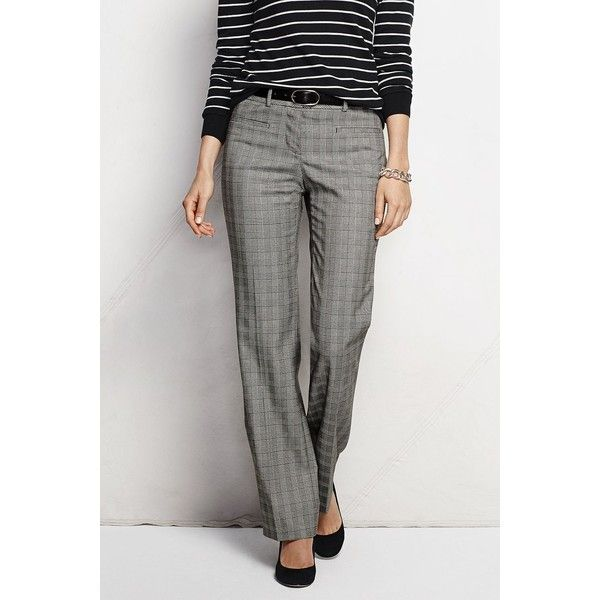Lands' End NQP Yarn Dye Wear to Work Trouser Pants ($35) ❤ liked on Polyvore featuring pants, petite, slim fit trousers, shiny pants, black trousers, dot pants and petite trousers
