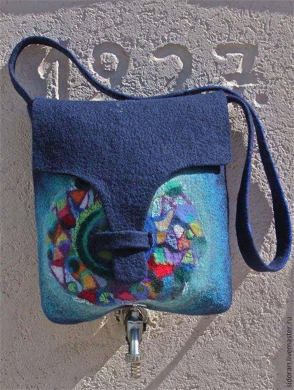 Купить Мандала - темно-синий, абстрактный, мериносовая шерсть, ручная работа, ручная авторская работа