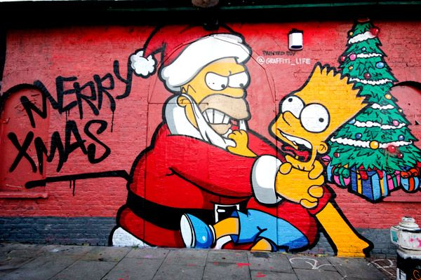 Shoreditch Simpsons Christmas Street Art: