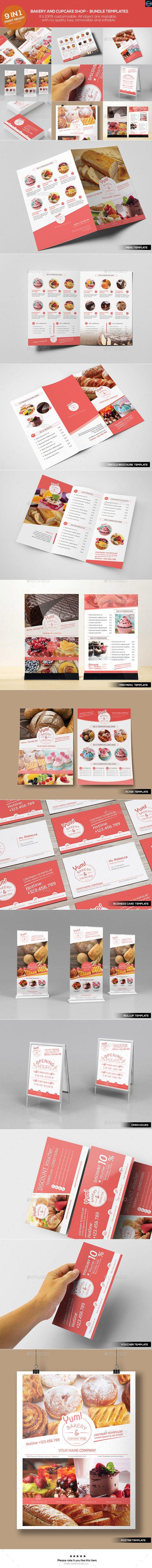 Bakery & Cupcake Shop - Bundle Template #design Download: http://graphicriver.net/item/bakery-cupcake-shop-bundle-templates/12664182?ref=ksioks
