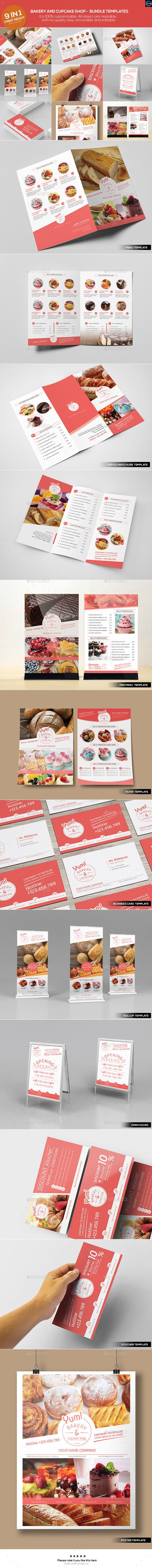 Bakery & Cupcake Shop - Bundle Template #design Download…