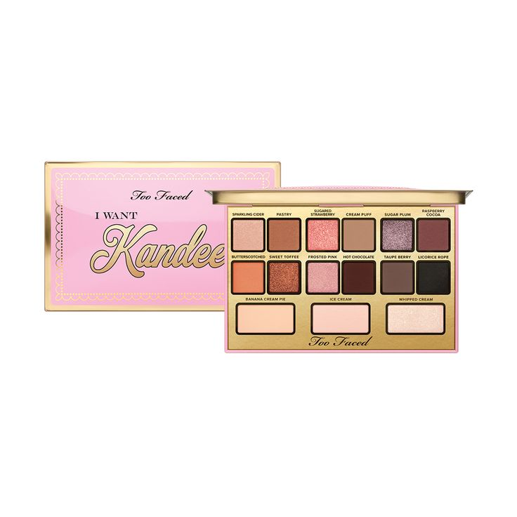 Too Faced teams up with Kandee Johnson to bring you the Candy Eyes Eye Shadow Palette. Get one of her most coveted eye looks with this candy-scented palette.