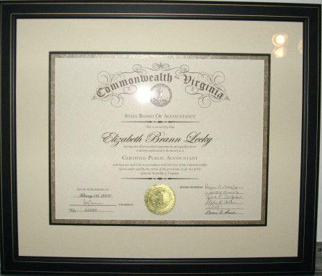 framed VA accounting certificate | Flickr - Photo Sharing!