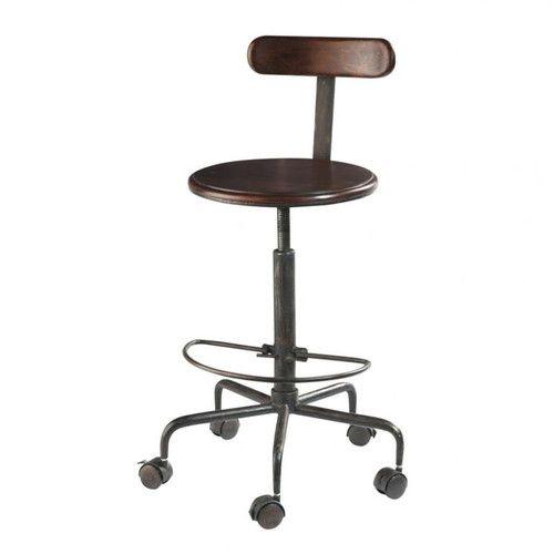 Massief sheesham-houten en metalen industriële hoge bureaustoel op wieltjes - done :)
