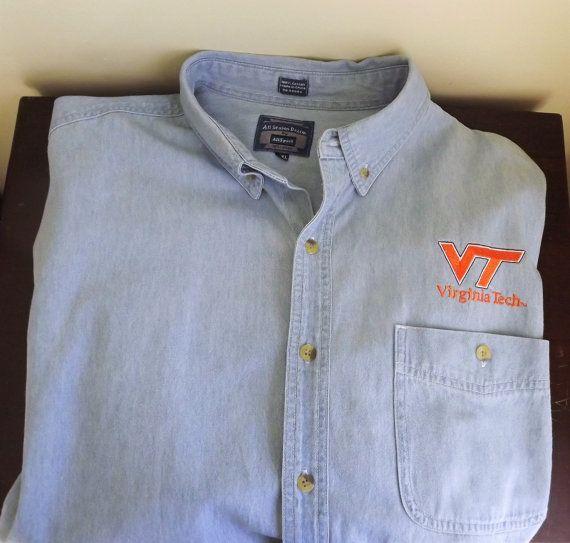 Mens Virginia Tech Shirt, Hokies Football Shirt, Denim VT Game Shirt Mens Oxford Button Down Long Sleeve Shirt Size XXL 2XL