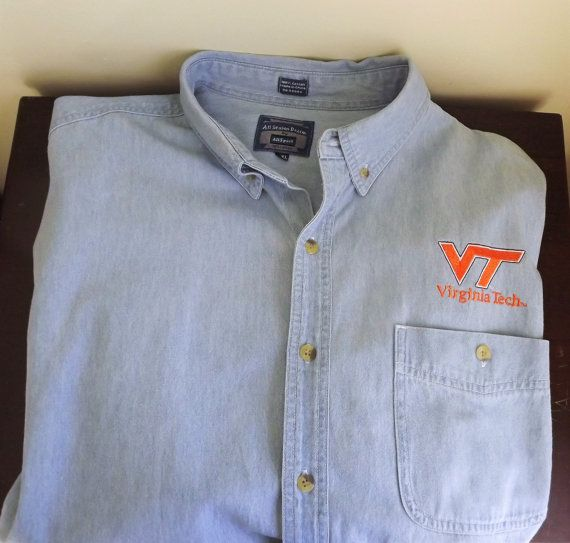 Mens Virginia Tech Shirt, Hokies Football Shirt, Denim VT Game Shirt Mens Oxford Button Down Long Sleeve Shirt Size XXL 2XL