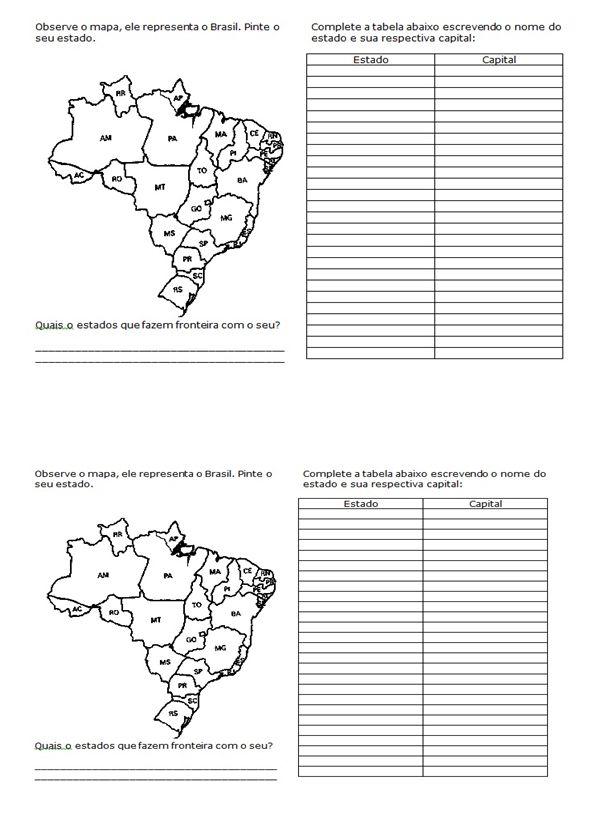 GEOGRAFIA 4° ANO ATIVIDADES EXERCÍCIOS ENS FUNDAMENTAL      Sistema Solar      Mapa do Brasil - Estados e Capitais      Mapa do Brasil - Es...