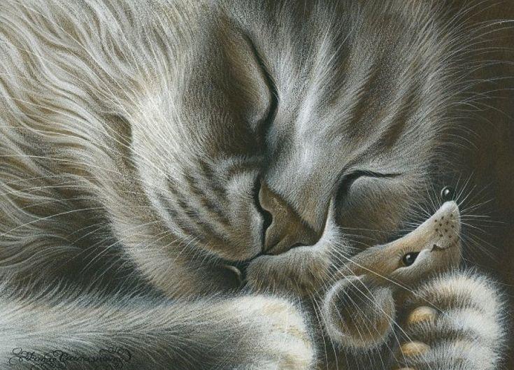 мышонок и котенок картинки двух тонах