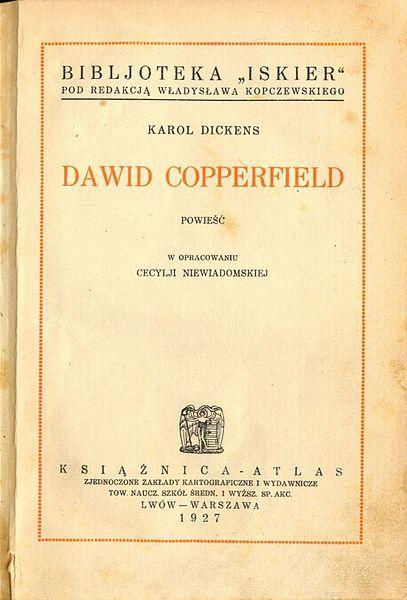 """""""David Copperfield"""" Charles Dickens Book series Bibljoteka Iskier vol. 11 (1927)"""