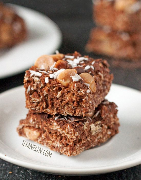 These Coconut Peanut Butter Chocolate Bars are naturally gluten-free, dairy-free and 100% whole grain! From texanerin.com