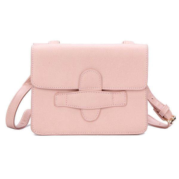 Yoins Pink Leather-look Magnetic Closure Shoulder Bag (£25) via Polyvore featuring bags, handbags, shoulder bags, yoins, pink, pink shoulder bag, round handbags, pink shoulder handbags, vegan leather handbags and pink purse