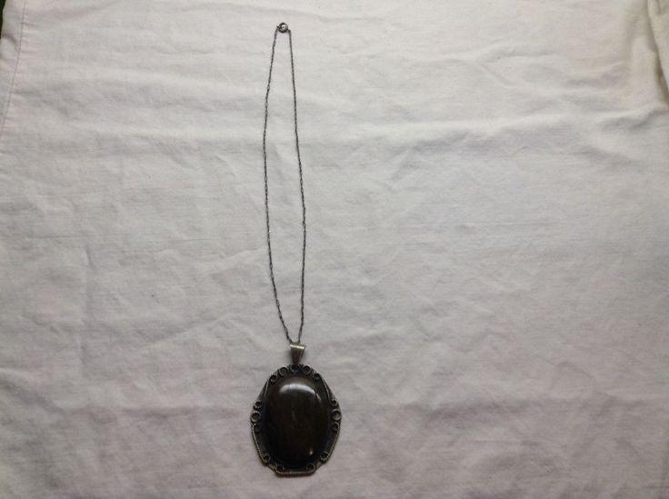 Rare Antique Sterling Silver Victorian Chain w/SpringRing Clasp &VTG Pendant