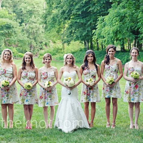 Silk floral dresses from Anthropologie had just the right garden-inspired look Lindsey wanted for her bridesmaids.