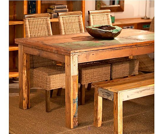 Mesa de comedor en madera de mahogani – multicolor