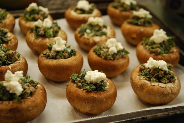 Healthy Appetizer – Kale and Goat Cheese Stuffed Mushrooms