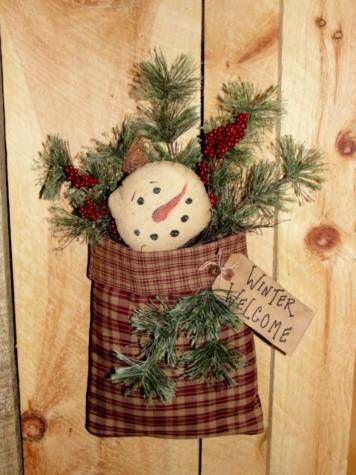Winter Plaid Pouch with Snowman and Pine