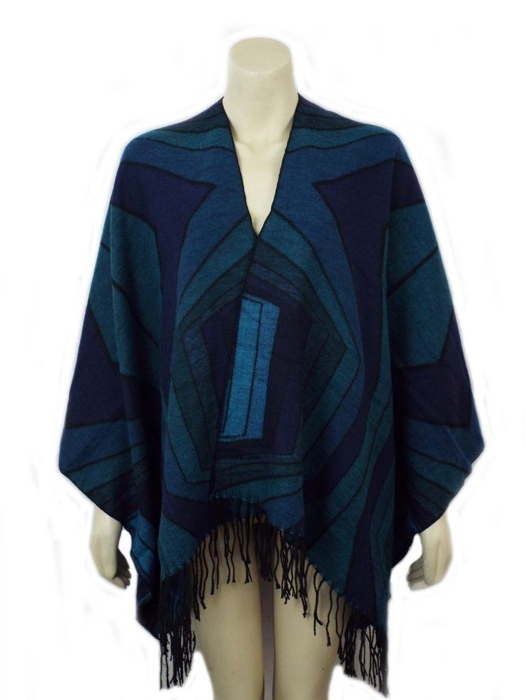 Ladies Jade Green Abstract Pattern Poncho Wrap Style - 91531